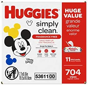 41XViAWBjVL. AC Huggies Simply Clean Unscented Baby Wipes, 11 Flip Lid Packs (704 Wipes Total)    Huggies Simply Clean Fragrance Free Baby Wipes deliver the perfect combination of convenience and versatility. Perfect for sensitive baby bottoms, as well as wiping hands, faces and surfaces for toddlers & children. Simply Clean unscented baby wipes are a great solution wherever you go, whether it's around the house, at the playground or in the car. Because Kids Outgrow Diapers, Not Messes. Simply Clean Wipes are hypoallergenic, dermatologically tested & pH-balanced to help maintain healthy skin. They're also fragrance free, alcohol free, paraben free and do not contain phenoxyethanol or MIT. Huggies Simply Clean Wipes are available in a variety of package options, perfect for use at home and on the go: flip lid packs, refill packs, reusable nursery tub and the stylish Clutch 'N' Clean refillable travel pouch. You can also choose between Fragrance Free and Fresh Scent varieties. Don't get caught without Huggies wipes! Sign up for Subscribe & Save to ensure you always have Huggies Simply Clean Wipes on hand. Join Huggies Rewards+ Powered by Fetch to get rewarded fast. Earn points on Huggies diapers and wipes, in addition to thousands of other products to redeem for hundreds of gift cards. Download the Fetch Rewards app to get started today!