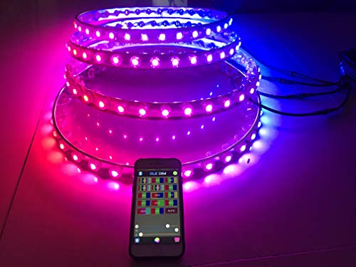 Sando Dream Chasing Color Multiple Colors IP68 Waterproof Brightest Strobe Led Wheel Ring Lights Rim Lights Tire Lights Bluetooth Controlled - 4 Lights (Rim 4 Light)