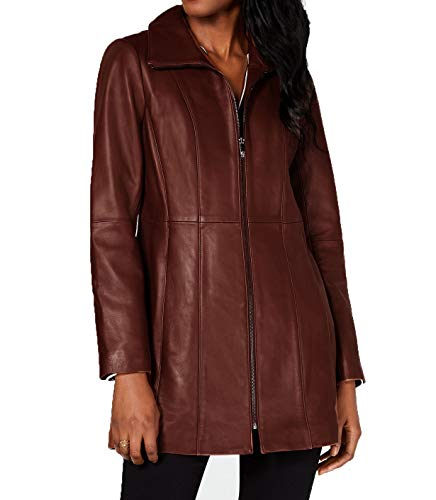 Anne Klein Stand-Collar Leather Jacket-Chocolate-M