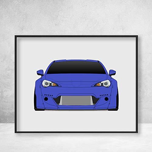 Subaru BRZ with Rocket Bunny Wide Body Aero Kit Poster Print Wall Art Decor ()