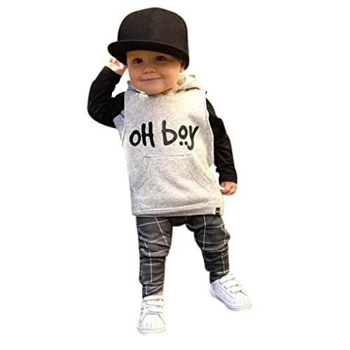 Kingdory Toddler Infant Baby Girl Boy Clothes Set Fashion Hooded Tops+Pants Outfits