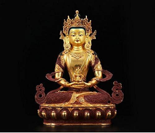 XUXUWA デスクトップ装飾 置物置物像の彫像小像彫刻仏像ホーム家族有効タリスマン仏教タイネパール手作りの金メッキ金メッキAmitayus仏像32センチメートル