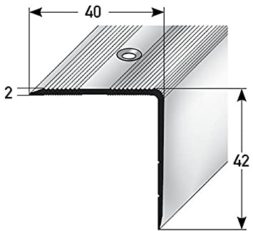 Aluminium stair angle profile - 170 cm, 42x40 mm, anti-slip, robust, easy to install, stair edge profile made of aluminium, perforated step edge profile, stair profile, stair guard for laminate, carpet, parquet acerto