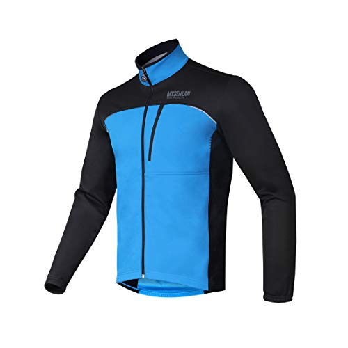 Mysenlan Men s Windproof Fleece Thermal Outdoor Sports Jacket Warm  Windbreaker Cycling Coat Bicycle Running Outwear Blue 742511963