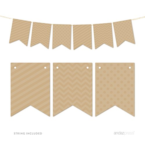 Andaz Press Hanging Bunting Banner Party Decor with String, Tan Brown, 9-feet, 1-Set (Brown Streamer)