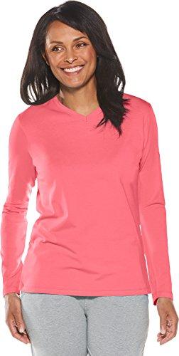 Coolibar UPF 50+ Women's V-Neck T-Shirt - Sun Protective (Medium- Hibiscus Pink)