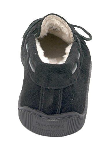 Pantofola Minnetonka Uomo Foderata In Pile Rigida Nera