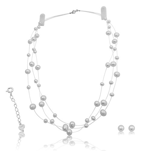 (Bridal Cultured White Pearl Necklace Earrings Set Sterling Silver Illusion Style 18