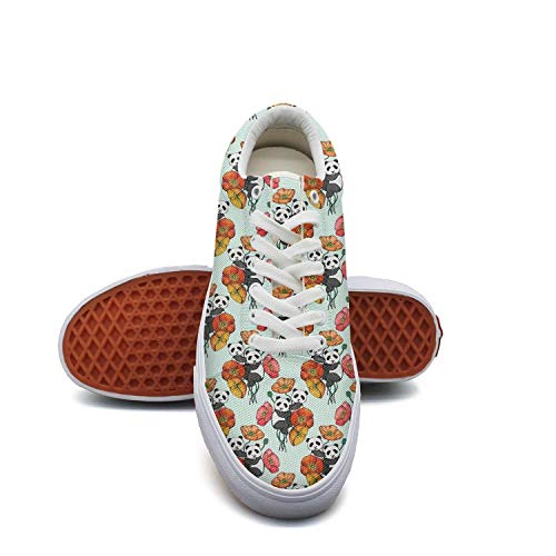 Bear Feet Flower Power - FGBLK Lace Canvas Panda Bear Poppy Flower Womens Sneakers Comfortable Flat Shoe Skates