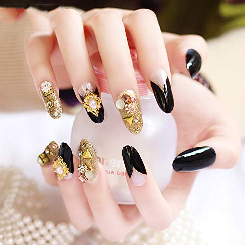 24 Pcs/Lot False Faux Ongles With 3D Crystal Decoration Oval Nails Tips Free Glue Diy Manicure For Bride 11 -