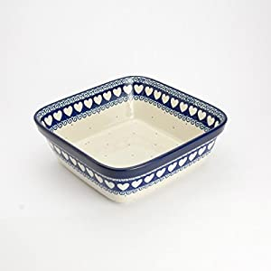 Polish Pottery Square Oven Serving Dish – Light Hearted – 20cm x 20cm