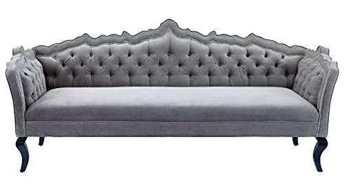 TOV Furniture The Brooks Collection Classic Elegant Velvet Fabric Upholstered Wood Living Room Sofa Couch, Gray