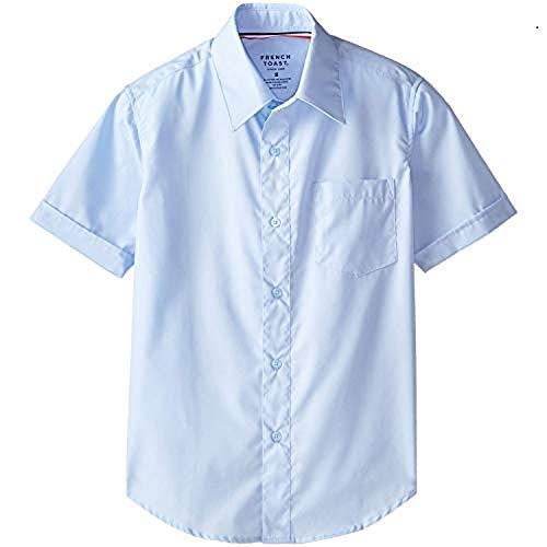 French Toast School Uniform Boys Short Sleeve Classic Dress Shirt, Blue, 10