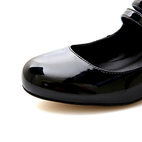 AllhqFashion Mujer Hebilla Cuero de vaca Puntera Redonda Charol Puntera Cerrada Tacón medio ZapatosdeTacón Negro