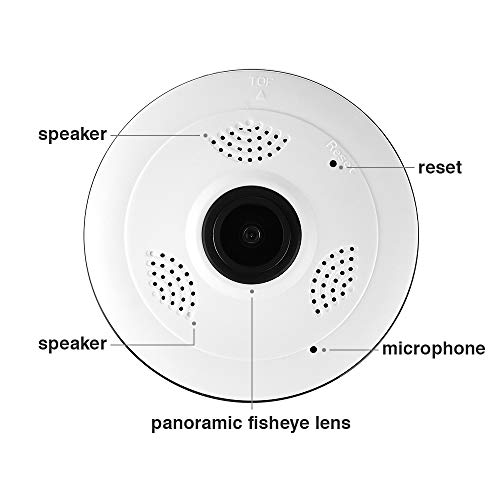 Vapeonly Home Security IP Camera,WiFi 360 Degree 960P Full HD Panoramic  Night Vision Camera with Fish Eye Lens/Two Way Audio/Motion Detection