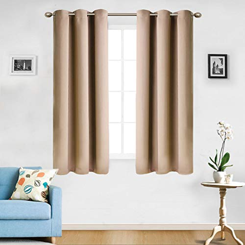 MASVISS Blackout Curtains for Bedroom – Window Treatment Thermal Insulated Noise Reduction Blackout Drapes for Living Room 2 Panels (42 x 63 -Inch,Cmel) For Sale