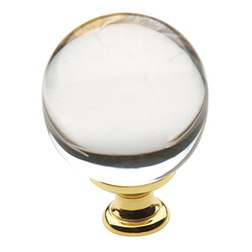 Baldwin Estate 4302.030 Swarovski Crystal Round Cabinet Knob in Polished Brass, 1.38