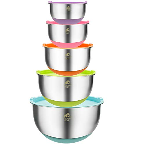 Estmoon Mixing Bowls Set of 5 - Premium Stainless Steel Nesting Mixing Bowls with Lids, Non-Slip Colorful Silicone Bottom, for Healthy Meal Mixing, Stackable Storage (1.5, 2.0, 3.0, 5.0, 8.0 qt) ()