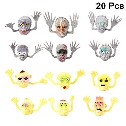 Amosfun 20pcs Ghost Finger Puppet Halloween Monster Finger Puppets Play Educational Doll Hand PVC Toy Children Finger Puppets Kid's Gifts