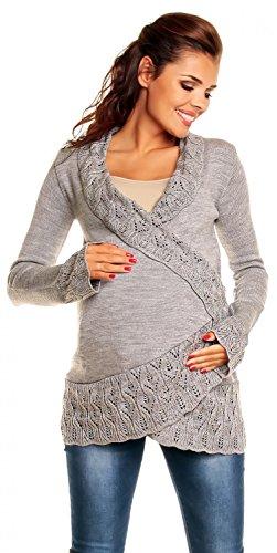 [Zeta Ville - Womens Maternity Cardigan with Crochet Details Knit Warm - 406c (Grey, ONE SIZE US 6/8/10)] (Maternity Sweater Coat)