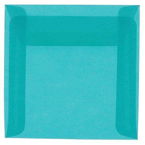 JAM PAPER 6 x 6 Square Translucent Vellum Invitation Envelopes - Aqua Blue - ()
