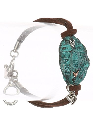 Bunnyberry Aged Finish Metal/Faux Suede Message/Bless Your Heart/Hammered/Two Tone/Arrow/Heart Charm/Double Strand/Toggle Closure/7 INCH LONG/7/8 INCH Tall/Nickel and Lead Compliant ()