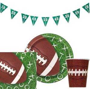 Touchdown Football Themed Party Supplies - Football Party Paper Plates Napkins and Cups with Football Banner - Serves 16 Guest