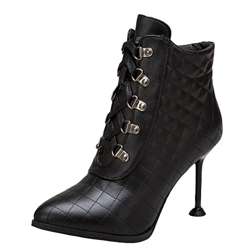 Pointed Elegant Black Short Heel Dress Boots High Toe Chic Women's Carolbar XwqBOO