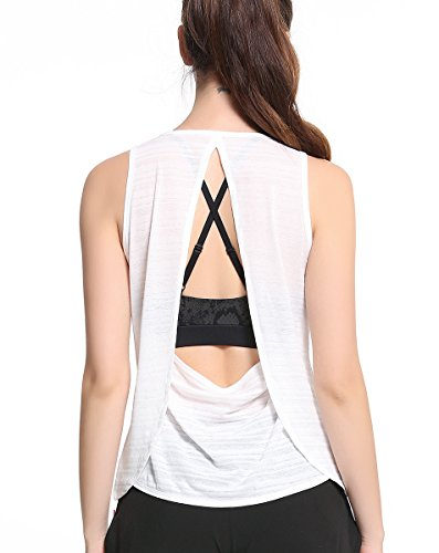 Campeak Women's Lightweight Open Back Workout Yoga Sport Sleeveless Tee Shirts (White S) For Sale
