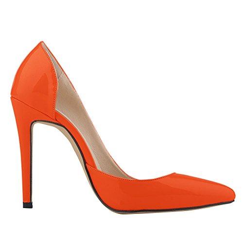 Fereshte Donna A Punta Chiusa Tacco A Spillo Snello Stiletto Arancione Pompe