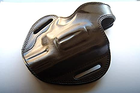 cal38 Handcrafted Leather Belt Holster for Taurus Tracker 44 Magnum  Revolver 2 inch (RH) Black Tan