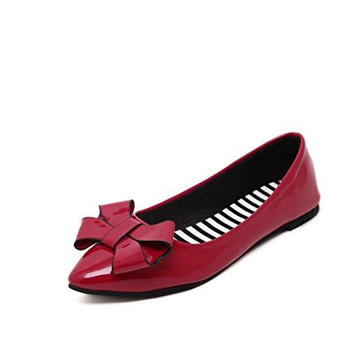 Primavera asakuchi puntiagudos pisos/Zapatos de charol de arco A