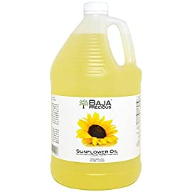 Baja Precious - Organic Sunflower Oil, 1 Gallon 5 Ingredients: 100% Pure Organic High Oleic Sunflower Oil All Natural, Expeller Pressed, Non-GMO Gourmet Foodservice Jugs with Pilfer Proof Cap
