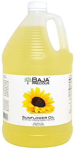 Baja Precious - Organic Sunflower Oil, 1 Gallon 1 Ingredients: 100% Pure Organic High Oleic Sunflower Oil All Natural, Expeller Pressed, Non-GMO Gourmet Foodservice Jugs with Pilfer Proof Cap
