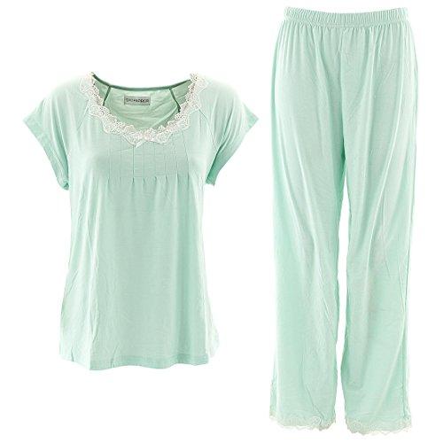 Sag Harbor Women's Pistachio Green Pajama Set L (Sag Harbor White Pants Women For)