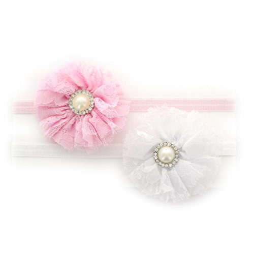 Rhinestone Bling Center (My Lello Infant Baby Shabby Lace and Tulle Flowers w/ Rhinestone Pearl Center on Stretchy Elastic Headbands Pair (Light Pink/White))
