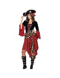 H&ZY Halloween Women Pirate Costume Cosplay Cap Dresses Belt