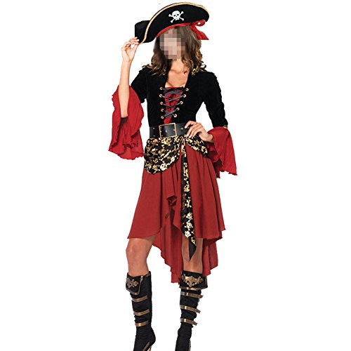 Black Beauty Pirate Adult Womens Costumes (H&ZY Halloween Women Pirate Costume Beauty Cosplay Cap Dresses Belt)