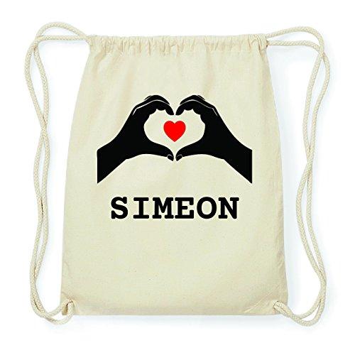 JOllify SIMEON Hipster Turnbeutel Tasche Rucksack aus Baumwolle - Farbe: natur Design: Hände Herz