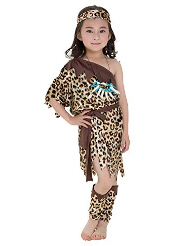 Tutu Dreams Cavegirl Caveman Costume for Girls Leopard Print Dress with Accessories Halloween Birthday Party (Leopard, Medium (Height:45.27-49.20 ()