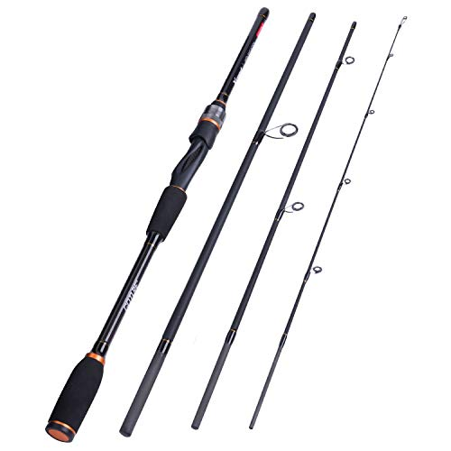 Goture Fishing Rods - Casting & Spinning Fishing Rods - Portable 2 & 4 Sections Lightweight Carbon Fiber Poles M Power MF Action 6.6ft - 7ft