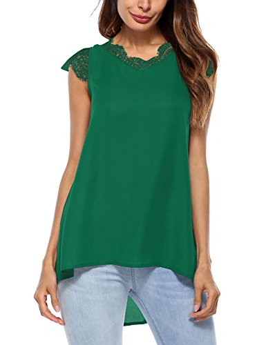 Sheroin Womens Lace V Neck Top Chiffon Sleeveless Blouse Loose Shirt Tunic (Chiffon Green)