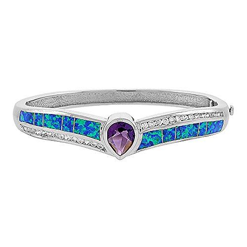 Sterling Silver Synthetic Opal Bangle Bracelet Women with 10 mm Teardrop Amethyst CZ 7.25 inch wrists