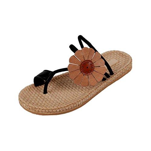 hunpta Women Flower Flat Shoes Bandages Bohemia Leisure Lady Sandals Flip Flops Shoes Black