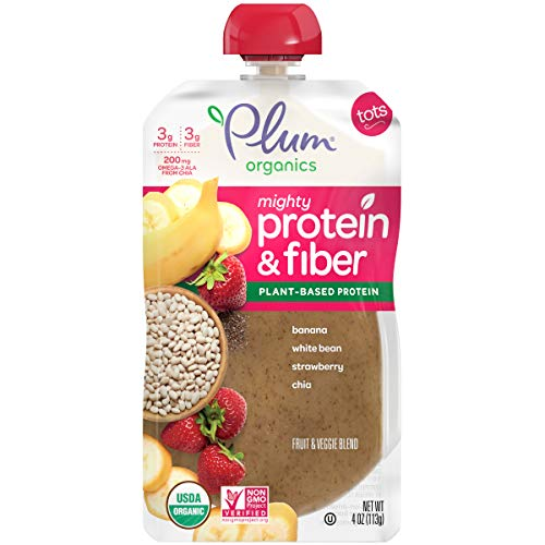 - Plum Organics Mighty Protein & Fiber Organic Toddler Food, Banana White Bean, Strawberry & Chia, 4 Ounce (Pack of 12) (Packaging May Vary)