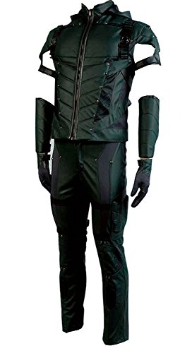 Men's Halloween Green Costume Arrow Season 4 Oliver Queen Cosplay Costume Leather Outfit(No (Halloween Costumes Four Seasons)
