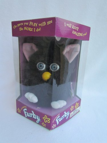 1998 Furby Black with Blue Eyes, Pink Ears and White Feet