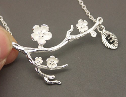 Branch Plum Flower (SHIPPING IN 24 HOURS! Personalized Initial 925 Silver Plum Flower Necklace NA020)