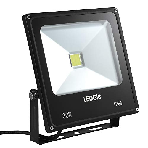 LEDGLE 30W LED Flood Light, IP66 Waterproof, 2300lm, 75W Traditional HPS Bulbs Equivalent Outdoor Super Bright Security Lights, 6000 Daylight White, Floodlight Landscape Wall Lights