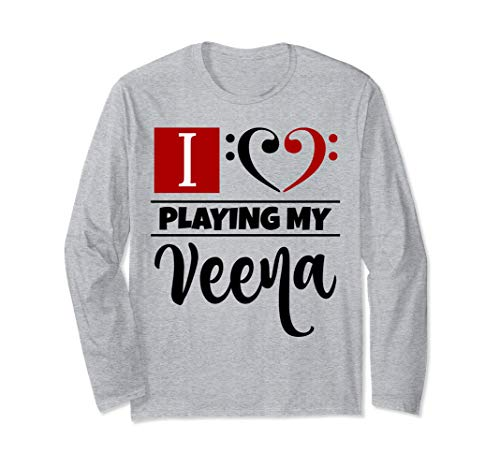 Double Black Red Bass Clef Heart I Love Playing My Veena Long-Sleeve T-Shirt